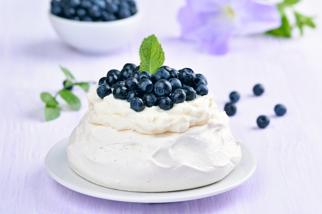 blueberry meringues